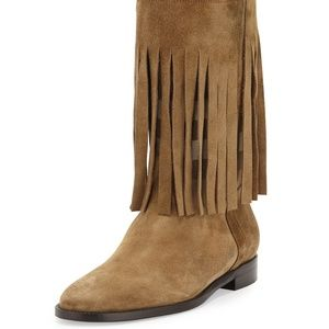 Burberry Norland Fringed Check Boot Size 11 NWOB